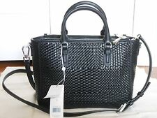NEW Auth Tory Burch Robinson $595 Woven Leather Tote‏ Shoulder Bag Handbag Black
