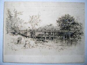 """""""Bridge Over Stream"""" etching by Charles Hebert Woodbury"""