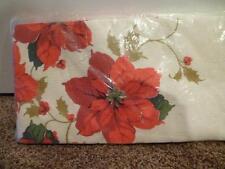 "Vtg Hallmark Paper Table Cover Poinsettia 54"" x 102"" NIP Water Resistant"