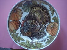 POTTERY BARN HERITAGE TURKEY SALAD PLATES THANKSGIVING SET 4 NEW SOLD OUT