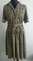 Nicole Lewis Collection Navy Polka Dot Spots Vintage Dress UK 16 EUR 42 Belt Yel