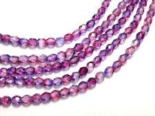 Czech Fire Polished Glass Beads 4mm Tanzanite Fuchsia (50pcs) - BEADS & TOOLS
