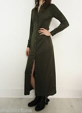 STUNNING WOMENS VINTAGE MILITARY MINIMALIST GRUNGE POPPER BUTTON MAXI DRESS 8 S
