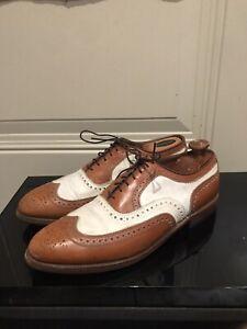 Allen Edmonds Broadstreet 10.5C Walnut Tan Brown And White Spectator Shoes