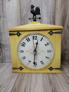 Vintage Westclox Yellow Barn Wall Clock with Rooster Topper Working USA Made