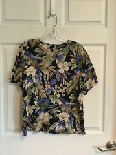 Sag Harbor Woman's Large black ivory purple green blouse flowers short sleeves e