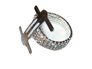 6 pieces Silver Rhinestone Stretch Band Corsage Wristlet Formal Prom Favors