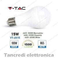 Lampadina led V-TAC 15W = 100W E27 VT-2015 A65 attacco grande globo sfera smd