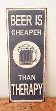 """Hanging Tin Wall Art - """"Beer Therapy"""",La Vida"""
