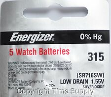5 pcs 315 Energizer Watch Batteries SR716SW SR716 0% HG