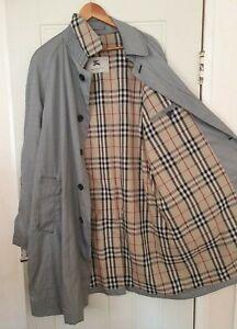 BURBERRY PRINCE OF WALES CAR RAIN TRENCH MAC COAT 56 R  XL XXL NOVA CHECK CAMDEN
