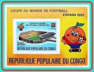 CONGO P.R. 1980 SPAIN WORLD FOOTBALL CUP imperf S/s MNH CV$13.00 SOCCER, SPORTS