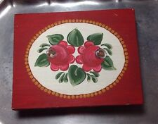 Handmade Wooden Playing Card Box Rosemaling Shabby Chic Signed Unique