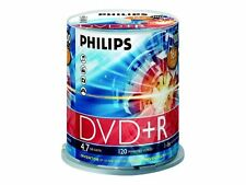 100 X Philips DVD R Blank Recordable Discs 4.7gb 120 Mins 1-16x Speed Spindle