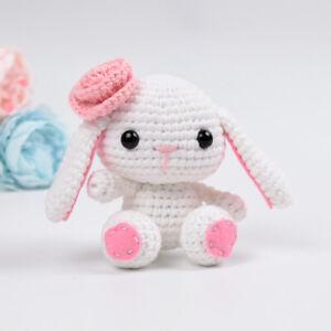 Floppy Eared White Bunnies Handmade Amigurumi Stuffed Toy Knit Crochet Doll VAC