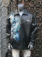 Men's Black Miskeen Handpainted 100% Genuine Lamb Leather Jacket