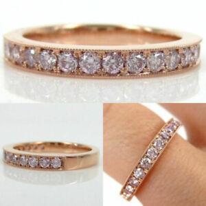 Diamond CVD Eternity Band 0.75 Carat Pink Round Cut 14k Rose Gold Ring Size 10