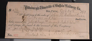 Pittsburgh Titusville & Buffalo Railway Co Oil City PA Antique Bank Check 1879