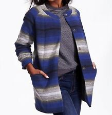 Old Navy Women's Striped Collarless Coat Jacket Wool Blend Winter Soft NWT M