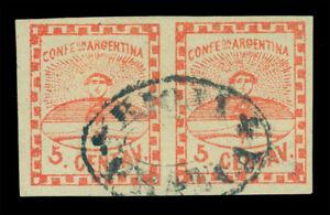 """ARGENTINA 1858 Confederation 5c red Sc #1 used XF - PAIR """"RIOJA FRANCA"""" cxl Rare"""