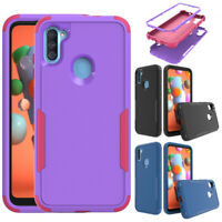 For Samsung Galaxy A11 A01 A21 Shockproof Hybrid Armor Rubber Rugged Case Cover