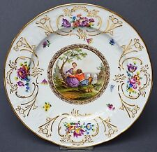 """Meissen Porzellan Teller """"Drei-Kaiser-Service"""" 1815-1860 Watteau Szene 1. Wahl"""