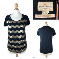 HOLLY & WHYTE by Lindex Women's Navy Blue Gold Pattern Blouse Top Shirt Size S