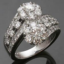 Fabulous VAN CLEEF & ARPELS Snowflake Diamond Platinum 2-Flower Ring Size 54