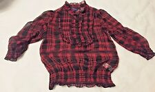Miley Cyrus Max Azria Blouse Size Med Top Casual Sheer Black and Red Plaid