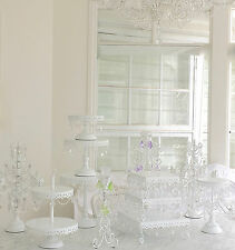 1 Shabby Crystal Prism White Chic Cupcake Wedding Birthday Cake Display Stand Nw