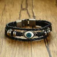 Men Braided Bracelet Evil Blue Eye Hematite Multi Layers Wristband Lucky Gift