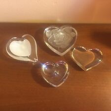 Beautiful Set of 4 Clear Glass Hearts