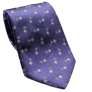Banana Republic Purple White Floral Flower Novelty Silk Necktie