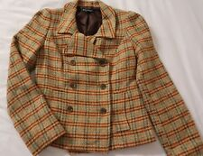 Plaid Coat Brown Tweed 6 Buttons Betsy Johnson Womens Size 6 Vintage Looking