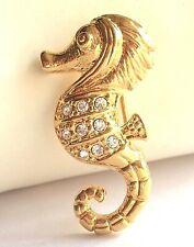 Gold Seahorse Pin Brooch Crystal Sea Life Nautical Beach Island Plated USASeller