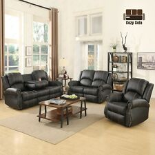 Gold Thread Sofa Set Loveseat Couch Recliner Leather Living Room Furniture Black