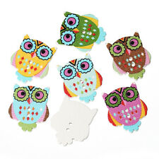 6 Wood Novelty Mixed Big eyed Owls design Sewing Craft Buttons 30mm