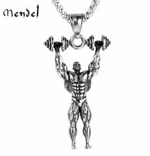 MENDEL Mens Gym Barbell Dumbbell Bodybuilding Necklace Pendant Stainless Steel