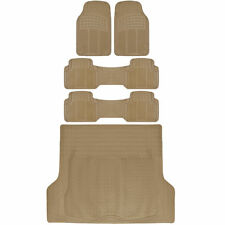 Van SUV Floor Mats All Weather 5 Piece Rubber Mat 3 Row & Trunk Mat Beige