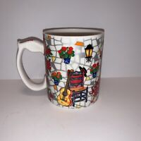 "Ole Mosaic Barcelona Spain Coffee Ceramic Mug Cup Spain 4"" Floral Music Dancing"