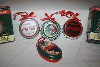 Set of 6 Coca Cola Christmas Ornaments 5 Bottle Caps and 1 Tin Box