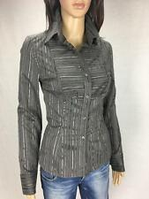 ** HOT OPTIONS ** NWT $39.99 * Size 8 Grey Black Corporate Stripe Shirt - (A607)