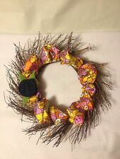 "Spring Summer 18"" Wreath Grapevine Floral Retro Fabric Denim Flower Easter"