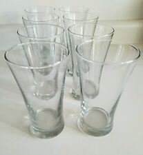 Set Lot of 8 High Ball Drink Glasses Clear Glass Flared Juice Heavy