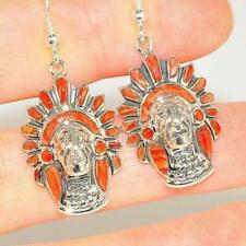Native American Sterling Silver Red Coral Zuni-Made Head Dress Earrings