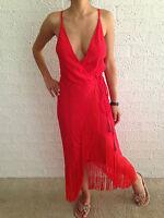 Women's Wrap Fringe Edge Red Boho Summer Maxi Evening Party Dress Size 6-8-10-12