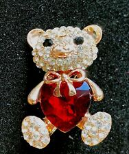 """teddybear Brooch pin clear red rhinestones gold tone1.5""""x1"""" mothers day gift #1"""
