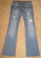"""La Idol* Boot Cut Awesome Bling Destroyed Studded/Rhinstone Jeans *Sz 9/31.5""""L*"""