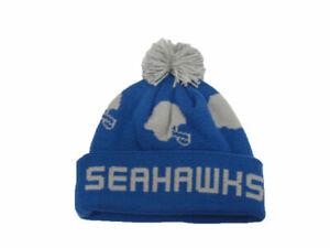 Seattle Seahawks Knit Beanie Cuff Cap With Pom Hat Mitchell & Ness NFL