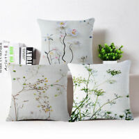 Flower Branch Home Decor Cotton Linen Pillow Case Sofa Waist Throw Cushion Cover